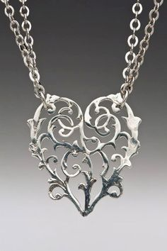 Silver Spoon Floral Heart Double Chain Link Alicia Necklace HND: Jewelry: Amazon.com