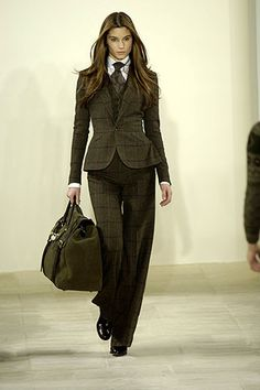 "Men's suiting & tie - love wearing the womanly version of traditional menswear; it is so ""ha-ha I can do it better"""