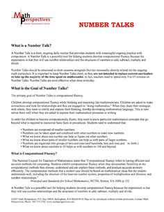 This article provides a good overview of number talks and how they can be used to promote computational fluency and mental math strategies.