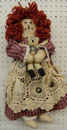 Vintage Handmade Raggedy Ann Doll Holding Teddy by GrammysShop, $40.00