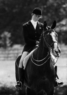 HRH Princess Anne in the practice area at the Riding Facility, Riem, Munich, West Germany in 1972 Munich Olympics - three-Day Eventing