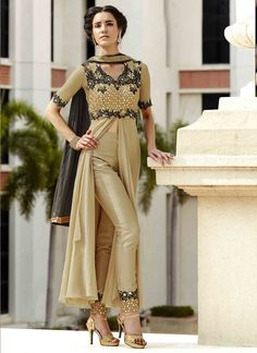 Featuring phenomenal beige embroidered designer suit intricately crafted with resham, zari and sequins work.It is paired with matching pants material and duppata.This outfit can be stitched upto size 44. For stitching enquiries, please email at customercare@hunardesigns.com  |…