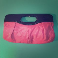 Cute Clutch Purse! Hot Pink & Black Colored Clutch With Handle. Clean Inside & Out. No Damages. Great Condition. Bags Clutches & Wristlets