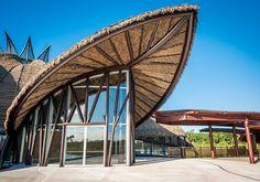 Polyethylene Sheets Ceiling Vidanta Theater of Palmex Bamboo Architecture, Studios Architecture, Tropical Architecture, Concept Architecture, Amazing Architecture, Architecture Details, Facade Design, Roof Design, Exterior Design