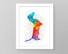 Watercolor wall art sitting dachshund printable home decor dog nursery children room silhouette cubicle trendy rainbow wall picture gift