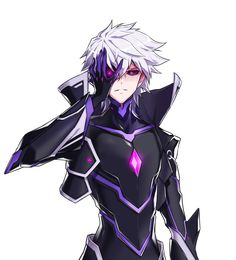 add_(elsword) black_sclera bodysuit cropped_jacket diabolic_esper_(elsword) elsword gloves hand_on_own_face highres hwansang male_focus messy_hair official_art popped_collar solo violet_eyes white_hair Elsword Anime, Add Elsword, Dark Anime, Anime Demon, Manga Anime, Character Concept, Character Art, Mobile Legend Wallpaper, Hot Anime Boy