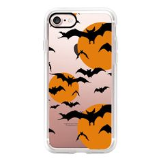 Black orange yellow halloween bats pattern - iPhone 7 Case, iPhone 7... ($40) ❤ liked on Polyvore featuring accessories, tech accessories, iphone case, apple iphone cases, iphone cases, print iphone case, iphone cover case and pattern iphone case
