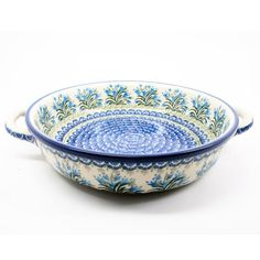 Polish Pottery Round Baker w Handle 1432 >>> Click on the image for additional details.(This is an Amazon affiliate link)