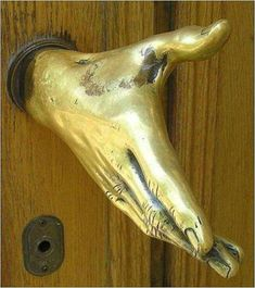 Do a secret handshake with the door knob. Cute.