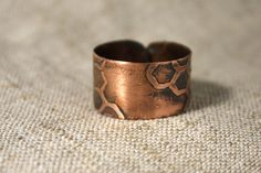 Bee's queen ring  small  Copper ring  Rustic by AnnTitovaDesign