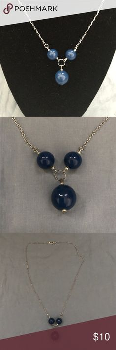 Delicate and simple blue and silver handmade Gorgeous handmade necklace with blue and silver y-shape necklace. This necklace measures 18 inches and the y-shaped part is 2 inches. Make an offer today! Sidlee Jewelry Jewelry Necklaces