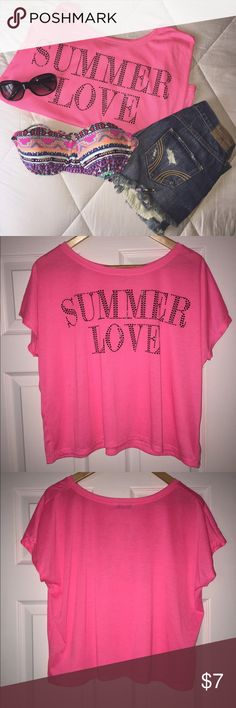 Neon Pink 'Summer Love' Crop Top This crop top is NWOT! Never worn & in Perfect condition! Bright Neon Pink with 'Summer Love' in black beaded embellishment. Size is Large. ONE sequin is missing in the 'S' as shown in pics, however it is very unoticeable since the beading is so small! Material is soft & flowy. Perfect for the summer time! Tops Crop Tops