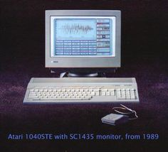"My second music production computer, the Atari 1040STe. It ran Notator software, which morphed into a program called ""Logic"" - the roots of the very same program that is now sold by Apple. Back then, Logic was developed by ""Emagic"", who also made many of the additional MIDI expanders that I used."