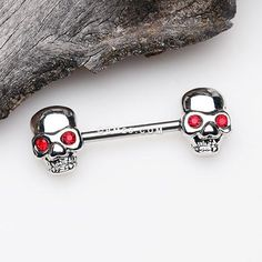 A Pair of Red Eyed Sparkle Skull Nipple Barbell more at Mike Vands 😈 Nipple Rings, Belly Rings, Red Eyes, 316l Stainless Steel, Barbell, Body Jewelry, Ear Piercings, Skull, Sparkle