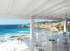 Hotspot Cotton Beach Club at the beautiful bay of Cala Tarida, Ibiza!