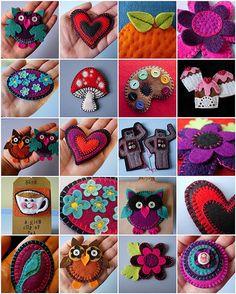 felt brooches by maximum RABBIT designs, via Flickr