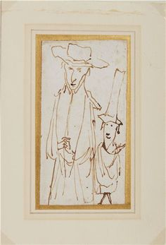 Artwork by Gian Lorenzo Bernini, A CARICATURE OF A PRELATE AND HIS SERVANT, Made of pen and ink, laid paper Gian Lorenzo Bernini, Caricature, Sculptures, Auction, Sketches, Ink, Paper, Artwork, Painting