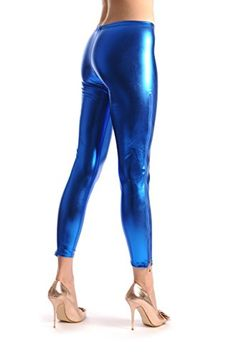 ee86b2d8f26fd6 Blue Shiny Faux Leather Wet Look With Side Zip Leggings -- You can get  additional