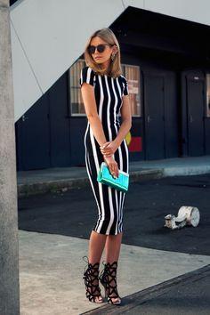 JESSICA STEIN- ASOS Stripe Dress, Sophia Webster Shoes, Jimmy Choo Clutch, House of Holland Sunglasses, Ryan Storer Earpiece
