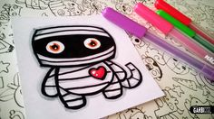 Halloween Drawings - How To Draw Cute Mummy by Garbi KW