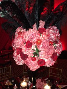 Red and black centerpiece- Broadway- phantom of the opera