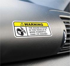 Funny Sound System Warning Sticker Set Vinyl Decal Subwoofer JDM Car Woofer Dope | eBay