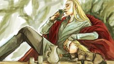 Drunk Thranduil and little Legolas