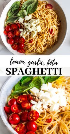 Classic aglio e olio upgraded to a lemony version, topped with cherry tomatoes - this lemon and feta spaghetti is so simple and yet full of flavours. Pasta With Feta Cheese, Feta Cheese Recipes, Feta Pasta, Spinach And Feta, Spaghetti Recipes, Pasta Recipes, Dinner Recipes, Cooking Recipes, Pasta Spaghetti