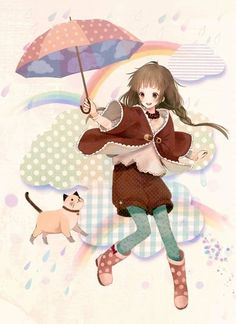 Anime girl with her umbrella and kitty.