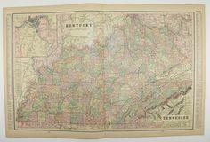 Kentucky Tennessee South Dakota and Georgia by OldMapsandPrints, $18.00