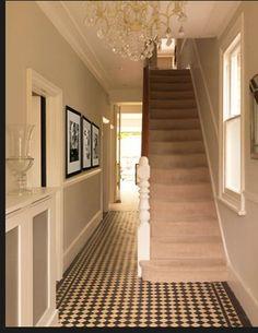 This hall has a dado rail painted white - looks good actually. Hall Tiles, Tiled Hallway, Dado Rail Hallway, Hallway Walls, Black And White Hallway, Black White, Victorian Hallway, Flur Design, Hallway Colours