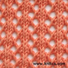 Right side of knitting stitch pattern – Lace 17 :So Simple and So Lovely! Only two rows to learn for this pretty lace. Many knitting stitches on this site! www.knitca.com
