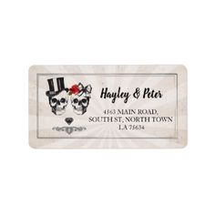Skulls Rose Rustic Address Labels Stickers Wedding - Halloween happyhalloween festival party holiday