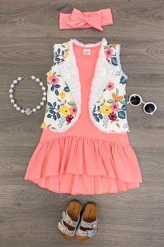 aece6d0c948 Coral Floral Vest Dress Little Girl Outfits