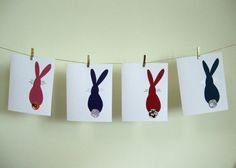 Japanese rabbit notecards  Set of 4 blank note by pipistrelles, £6.00