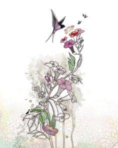 Humming Bird, Ink Drawing, Watercolor Flower, Fuchsia Flowers, Original Illustration, Whimsical Art, Bontical Art, Floral Painting. $15,00, via Etsy.