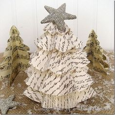 CONFESSIONS OF A PLATE ADDICT Last Minute Christmas...Easy Vintage Paper Trees.  directions to make paper Christmas trees out of scrapbook paper