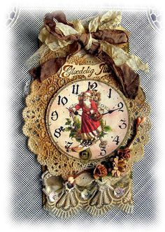 Vintage Christmas clock ornament