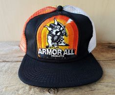 Vtg 80s ARMOR ALL Products Auto Care 4 Color Mesh Trucker Hat USA Snapback Cap #InnovativeProducts #BaseballCap