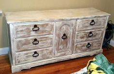 Waverly Chalk paint - base is Hazelnut, then dry brushing with Plaster color.  Sand with fine sanding sponge.  Clear Wax and then White Wax.  Spray paint handles with dark brown.  Totally Shabby Chic!