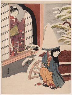 Parody of the Nô Play Kayoi Komachi 見立深草の少将 Japanese Edo period about 1767–68 (Meiwa 4–5) Artist Suzuki Harunobu (Japanese, 1725–1770)