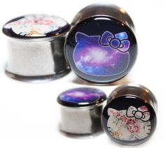 Galaxy or Floral Hello Kitty Plugs