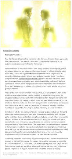 Michael Dante DiMartino confirming Korrasami