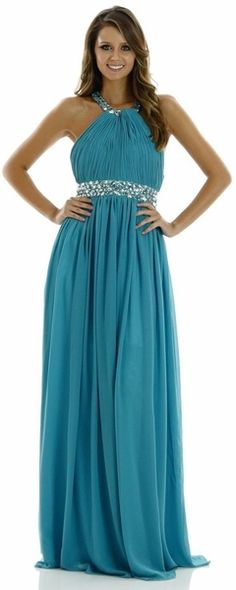 Chiffon Teal Formal Dress Halter #discountdressshop #halter #formaldress #chiffon #teal #promgown