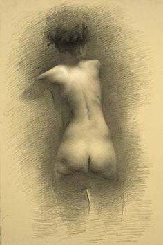 Juliette Aristides, Back, 2007, charcoal on paper 26 x 16.5    thegreatnude.tv
