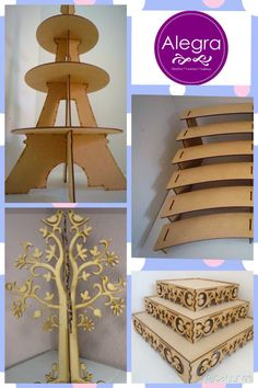 Cool decor idea: cut in cardboard, paint in white or gold. Decor Crafts, Diy Home Decor, Diy And Crafts, Paper Crafts, Mdf Wood, Wood Art, Porta Cup Cakes, Candy Car, Cake And Cupcake Stand