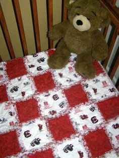 Baby University of South Carolina rag quilt by Ragamuffin Quilts