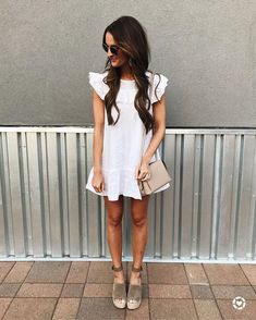 summer style | womens fashion | mom outfit ideas | white dress | wedges | summer fashion