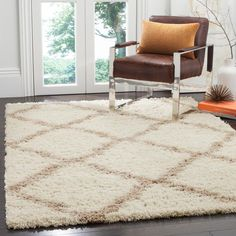 Dallas Shag Ivory/Beige 6 ft. x 9 ft. Area Rug