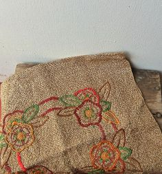 Rescued Embroidery Piece  Autumn Flowers by raemj on Etsy, $15.00